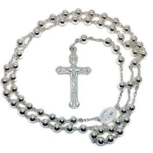 beads and cross anti-tarnish silver Rosary